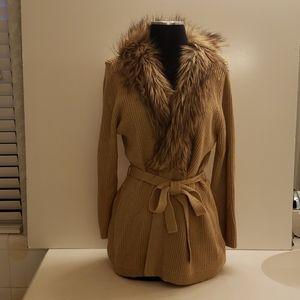 Gold knit belted cardigan w/ faux fur collar XL